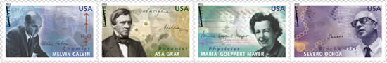 photo of stamps on sheet of Forever Stamps issued by USPS Celebrating American Scientists