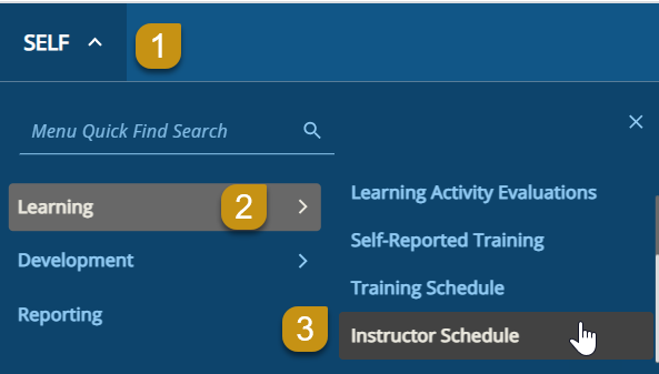 UC Learning Center Instructor Schedule Screen Shot