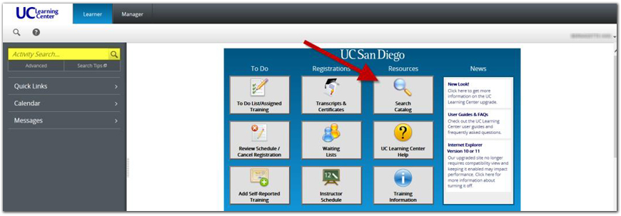 UC Learning Center Search Catalog Screenshot