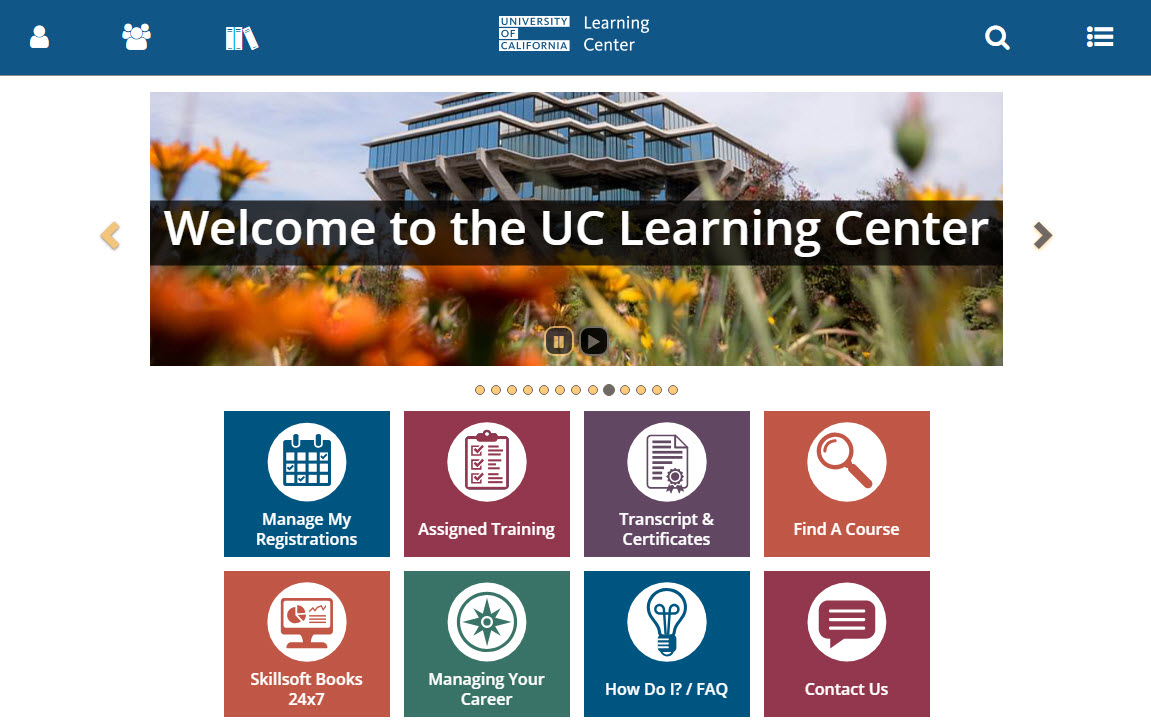 UC Learning Center Home Dashboard