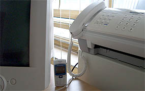 Computer monitor, cell phone, and fax machine