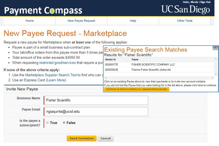 payment compass new payee request