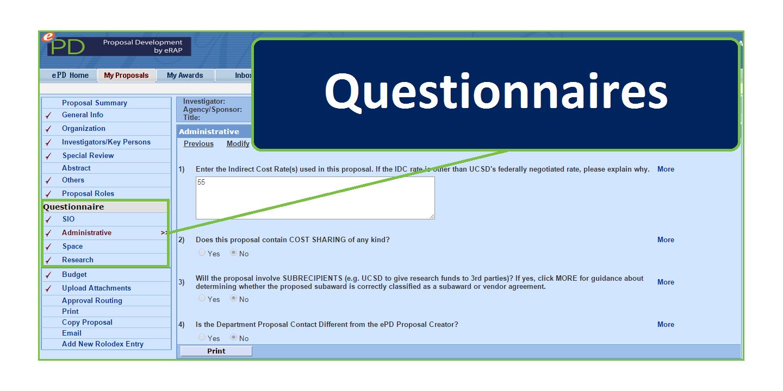 epd questionnaires