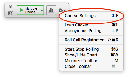 iClicker session toolbar