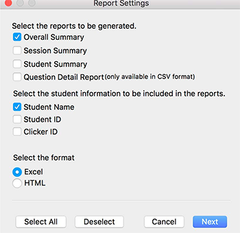 iClicker Report Settings window