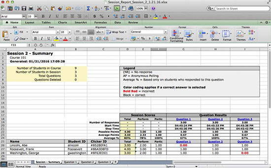 Session Summary Report in Excel