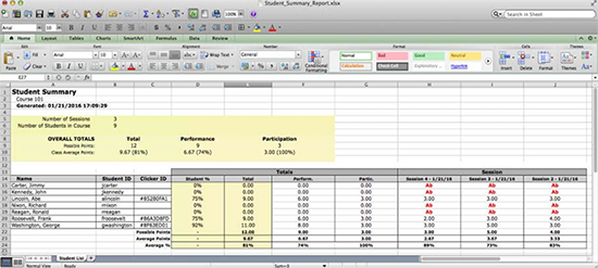 Student Summary Report in Excel
