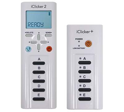 White iClicker2 and iClicker+ remotes