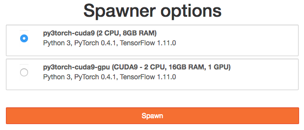 "Image of ""Spawner Options"" Jupyter menu.  Several options are presented, e.g. ""py3torch-cuda9 (2CPU, 8GB RAM): Python 3, PyTorch 0.4.1, Tensorflow 1.11.0"""