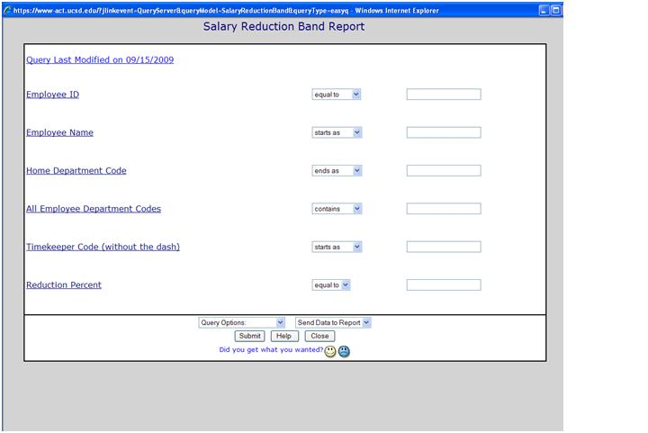 Salary Reduction Band query screenshot