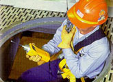 Worker preparing to enter a confined space