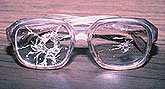 Safety glasses after a chemical explosion