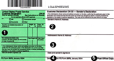 U.S. Postal Service customs form 2976