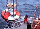 Tsunami buoy being deployed by NOAA