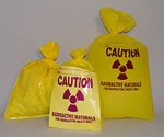 Yellow radioactive waste bag
