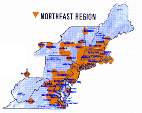 Pager Coverage  Northeast Region