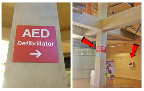 Optional red AED sign