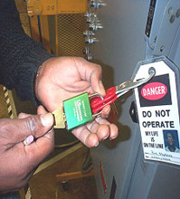 Energy source that has been locked & tagged out for setup, service or repair - Source: California Dept of Industrial Relations