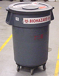 BIOHAZARD container for dry biohazardous waste