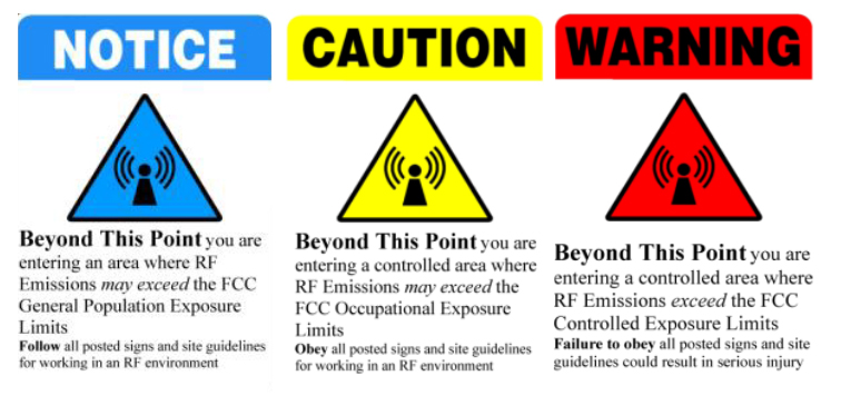 warning signs for rf radiation