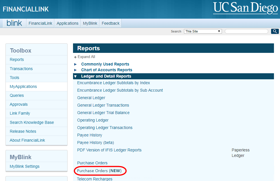 screenshot of FinancialLink navigation showing link to new PO report