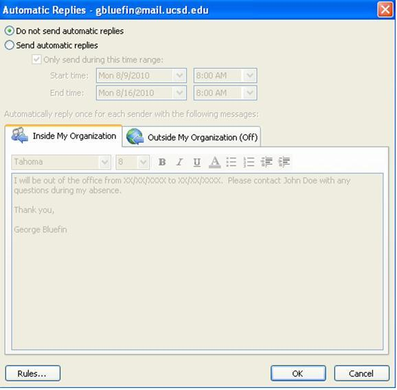 Setting Up Out-of-Office Messages In Outlook 2010