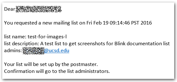 Create new list email screen shot
