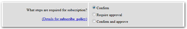 Manage subscription policy screenshot
