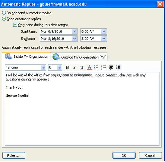 Setting up out of office messages in outlook 2010 - Set up out of office in outlook ...