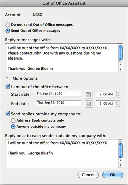 Setting Up Out Of Office Messages In Outlook 2011