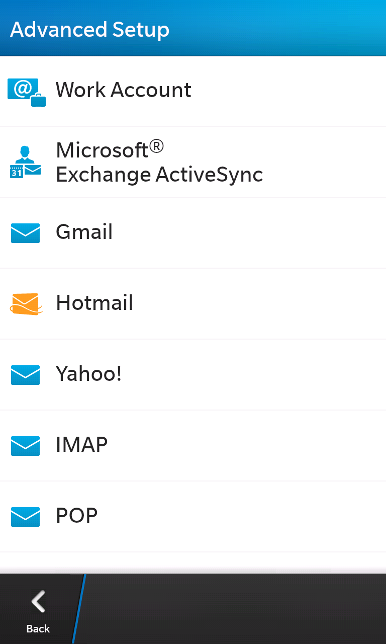 Setting Up Email for Exchange for BlackBerry 10 devices