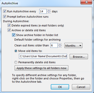 AutoArchive configuration settings