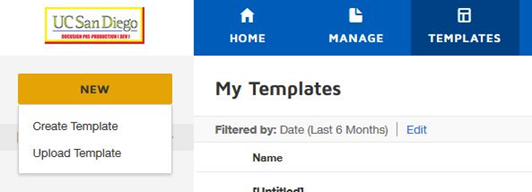 Create template menu screenshot