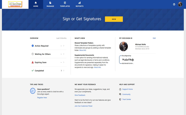 DocuSign interface