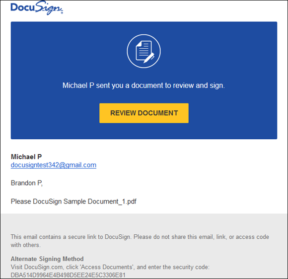 DocuSign sing-in screen