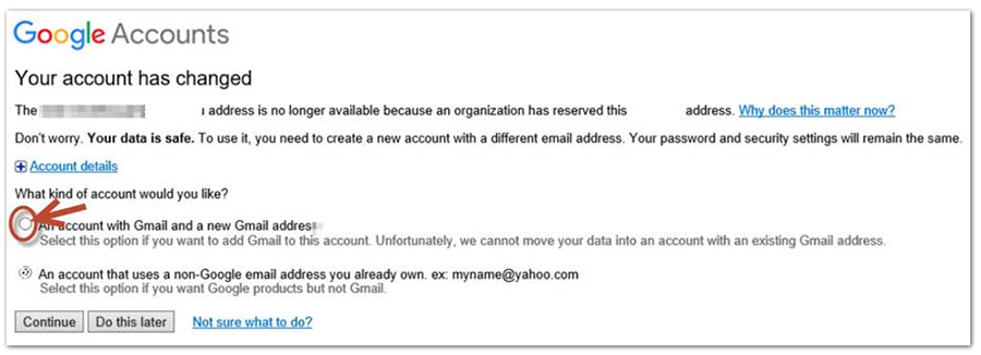 Screenshot of account conflict email