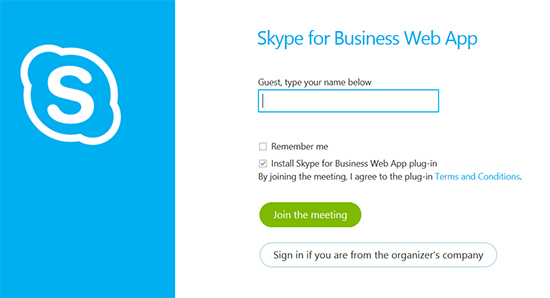 Skype Web App guest sign in
