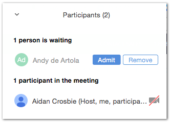 Admit person waiting screen shot