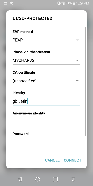 Configuring Android to Use Encrypted (WPA2-E) Wireless Services at UCSD