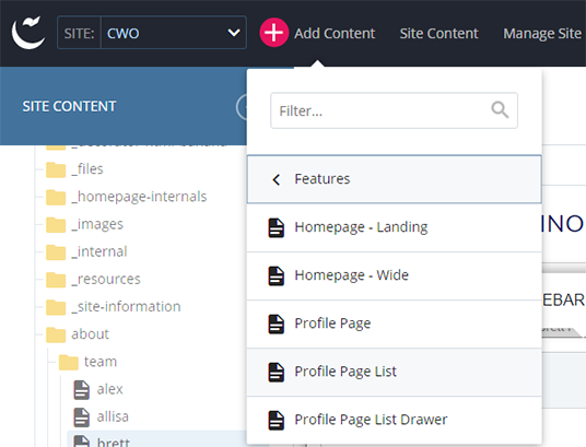 Add New Features Profile List Screenshot
