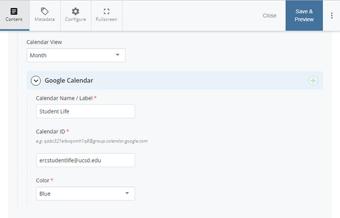 Google Calendar Template