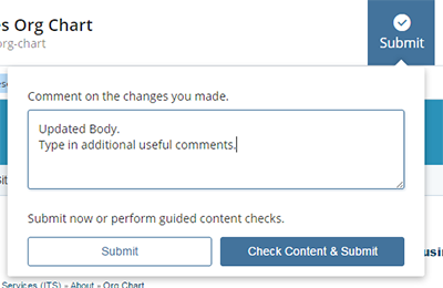 Edit page comment box screenshot
