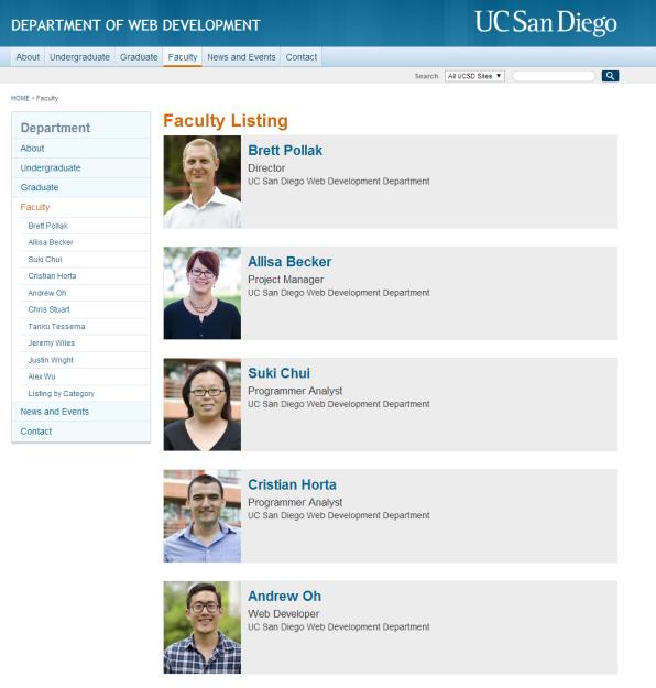 profile listing template