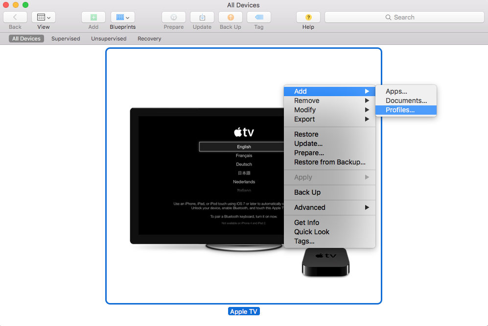 Right click menu displayed in apple configurator 2