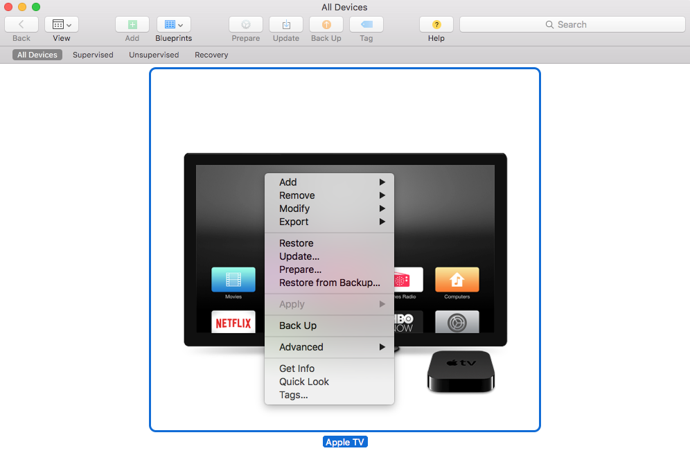 Right click menu shown in Apple Configurator 2