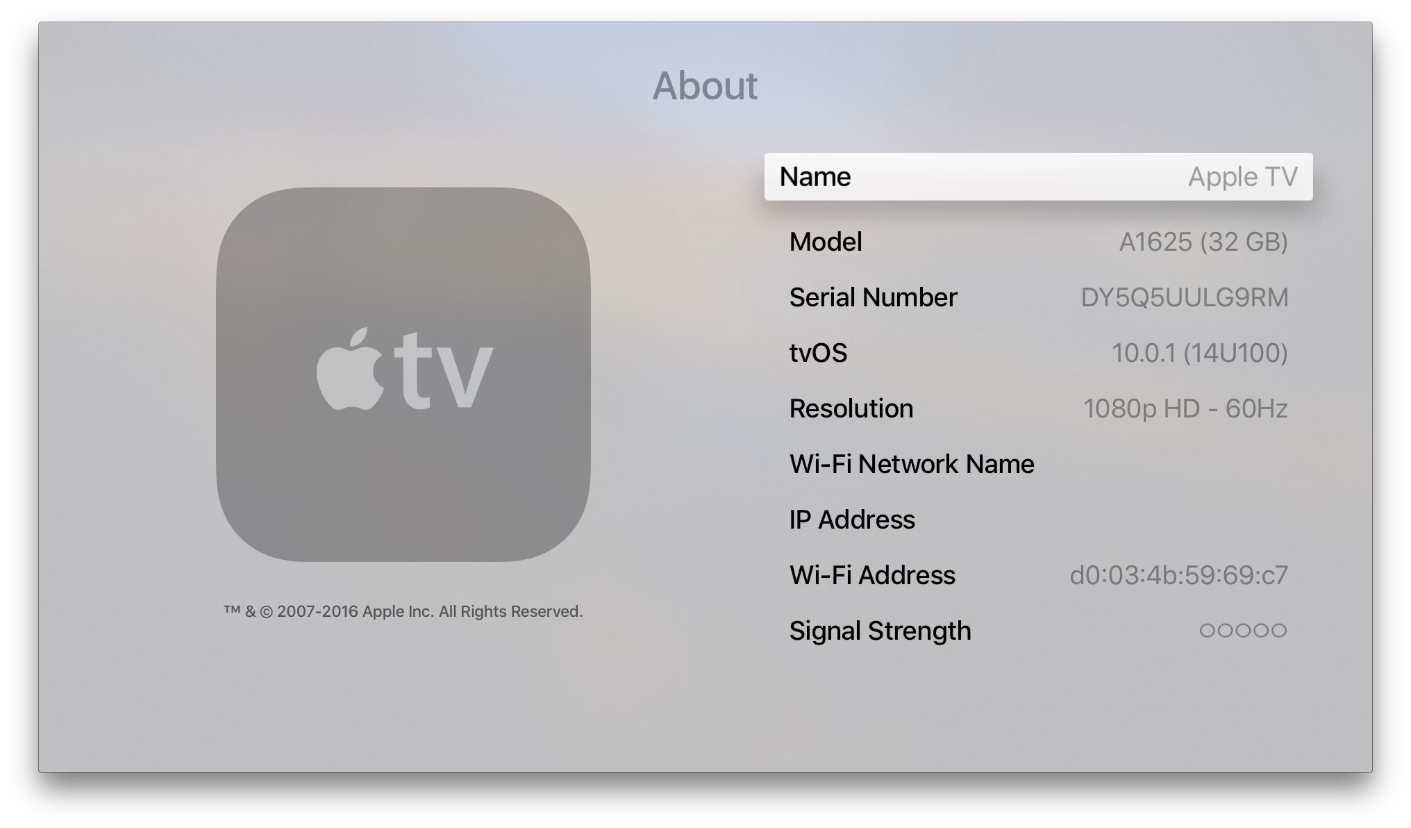 Settings General About menu in Apple TV gen 4