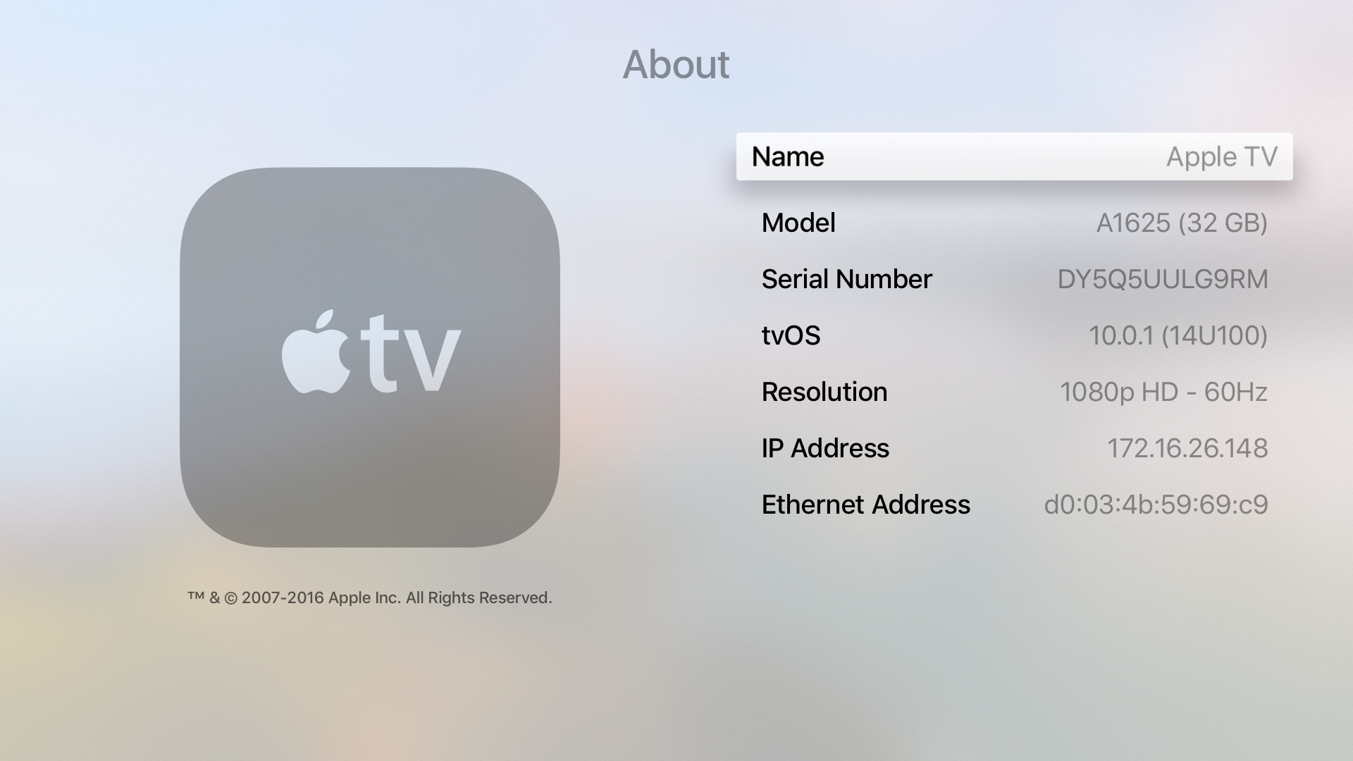 Using Apple Tv At Ucsd Power Diagram Besides Cable Box Connections On Cord Ethernet Address In Settings General About Gen 4