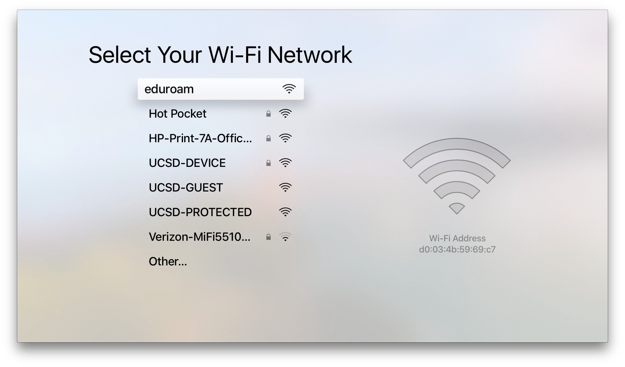 Wifi setup Apple TV gen 4