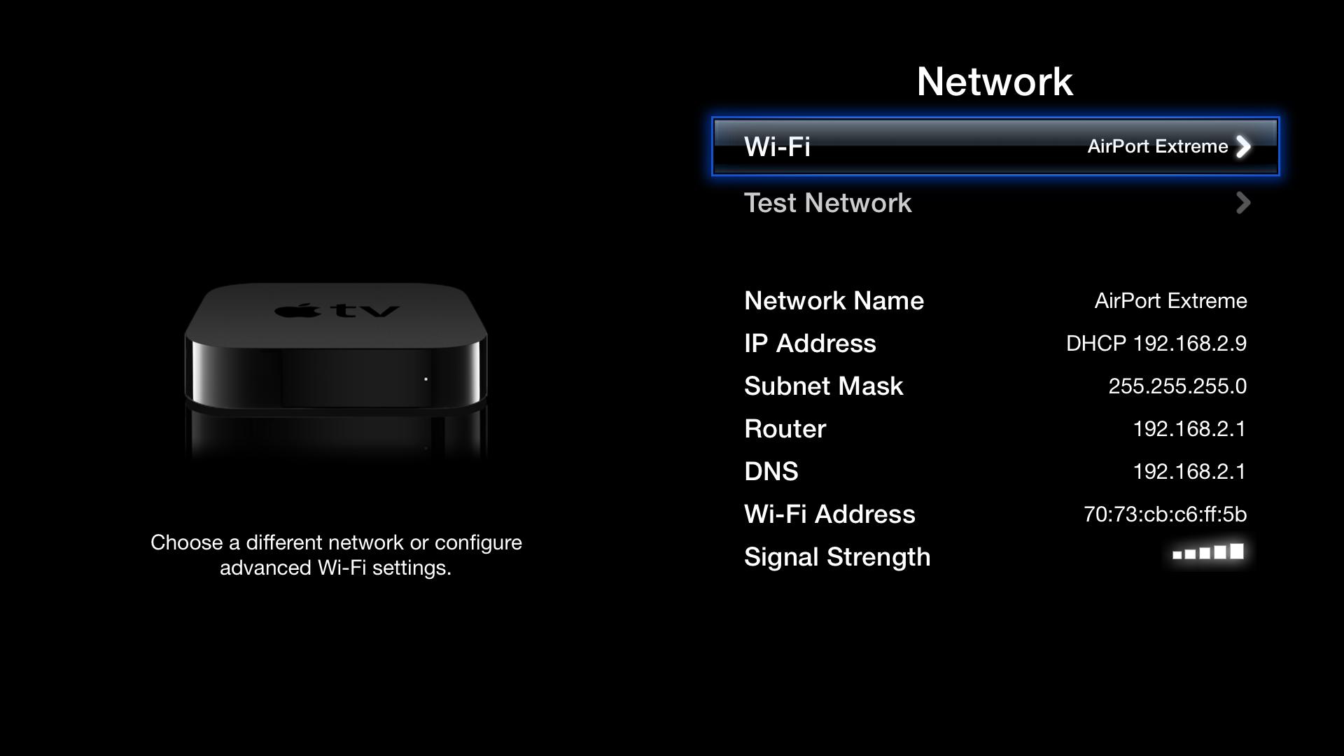 Apple tv Settings Screen Apple tv Main Screen
