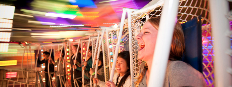 UC San Diego students on round up carnival ride